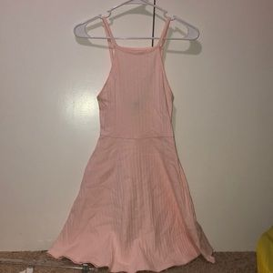 Pastel Pink Fit and Flare Halter Dress